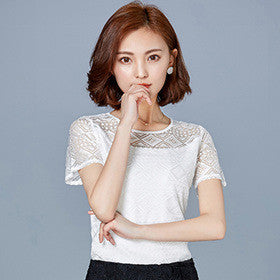 White Blouse Lace Chiffon Short Sleeve Summer Women Tops New Fashion Korean Hollow  Out Ladies Shirt ef41ad199507
