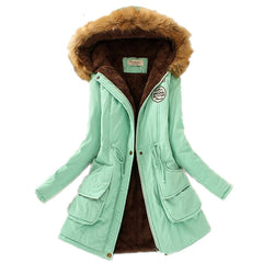Thickening Warm Fur Collar Winter Coat New Women Clothes Lamb Wool Jacket Hooded Parka Army Green Overcoat S-XXXL-Dollar Bargains Online Shopping Australia