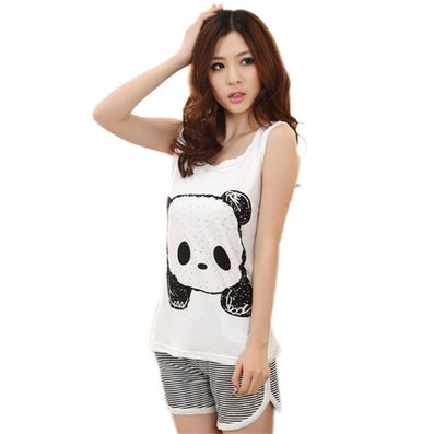 Newly Design New Fashion Cute Cartoon Vest Summer Pajamas Lady Casual Sleeveless Female Leisure Wear Suits-Dollar Bargains Online Shopping Australia