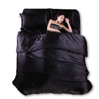 Silk Quilt Black Satin Sheets Bed Linen Cotton Solid Satin Duvet Cover Set  King Size Bedsheet