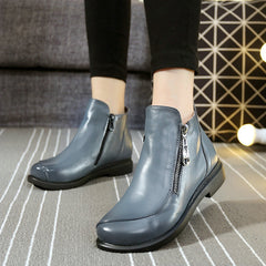 Short Flat Heels Shoes Genuine Leather Martin Boots Side Zipper Women Ankle Boots Plus Size 41-43 ZK3.5-Dollar Bargains Online Shopping Australia