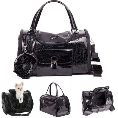 Luxury Black Chihuahua Leather Dog Carriers For Small Dogs Cats Pet Travelling Bags pet travel carriers dog slings handbags-Dollar Bargains Online Shopping Australia