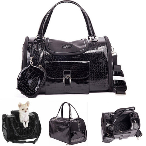 Luxury Black Chihuahua Leather Dog Carriers For Small Dogs Cats Pet Travelling Bags pet travel carriers dog slings handbags - Dollar Bargains