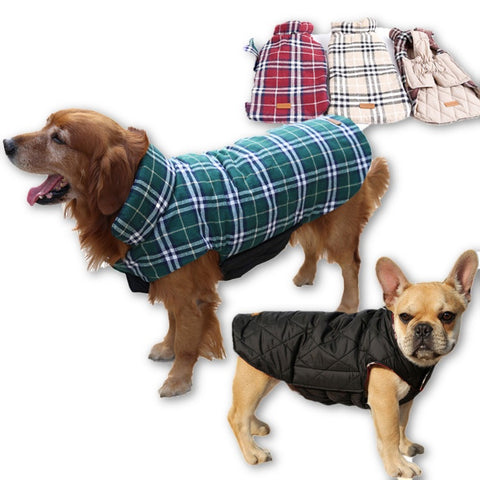 2016 Waterproof Reversible Dog Jacket Designer Warm Plaid Winter Dog Coats Pet Clothes Elastic Small to Large Dog Clothes Winter - Dollar Bargains - 1
