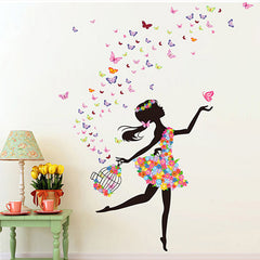 Fashion Modern DIY Decorative Mural PVC Girl Butterfly Bedroom Room Wall Sticker For Home Decor Removable Decal Wwallpaper-Dollar Bargains Online Shopping Australia