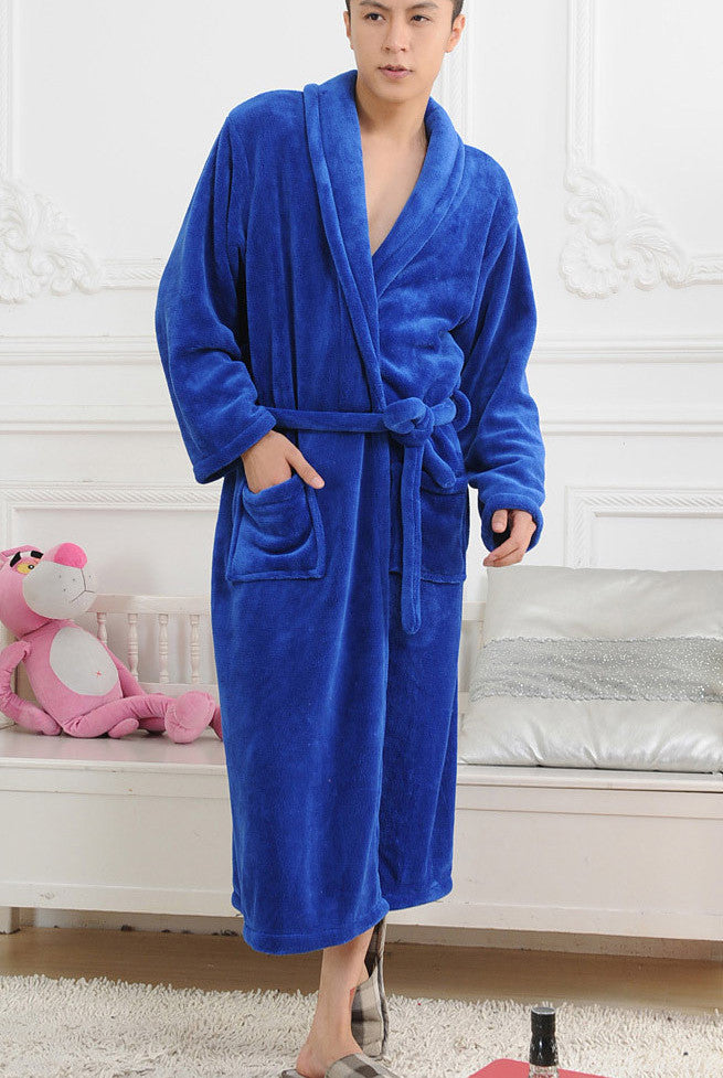 P1308blue / XLWinter Autumn thick flannel men's women's Bath Robes gentlemen's homewear male sleepwear lounges pajamas pyjamas