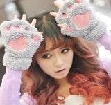 New Arrival 1 Pair New Women Lady Girl Winter Warm Paw Gloves Fingerless Fluffy Bear Cat Plush Paw Glove Mittens - Dollar Bargains - 1
