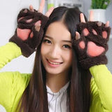 New Arrival 1 Pair New Women Lady Girl Winter Warm Paw Gloves Fingerless Fluffy Bear Cat Plush Paw Glove Mittens - Dollar Bargains - 5