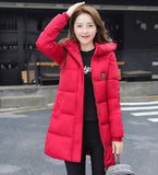 New Fashion Long Winter Jacket Women Slim Female Coat Thicken Parka Down Cotton Clothing Red Clothing Hooded Student-Dollar Bargains Online Shopping Australia