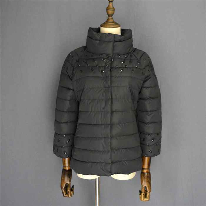 womens winter jackets and coats 3/4 sleeve solid color with crystal coat female - Dollar Bargains - 2