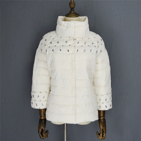 womens winter jackets and coats 3/4 sleeve solid color with crystal coat female - Dollar Bargains - 3