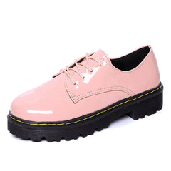 Pink Oxfords Shoes Woman Platform Creepers Patent Leather Flats Casual Lace-Up Loafers Women Brogue Shoes XWD3491-Dollar Bargains Online Shopping Australia