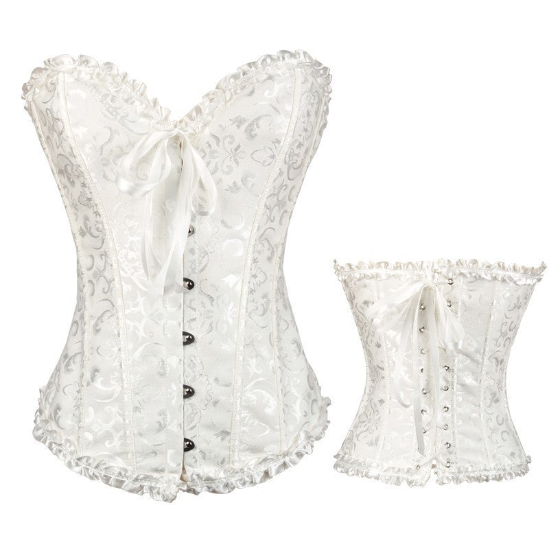 white / M / ChinaSatin Bone Lace Up Steampunk Corset Sexy Bustier Women Corselet Corset and Bustier Corset Overbust Slim Corset Strapless
