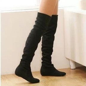 Size 34-43 Women Boots Winter Autumn Fashion Flat Bottom Boots Shoes Over The Knee High Leg Suede Long Boots Brand Designer - Dollar Bargains - 1