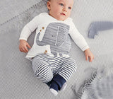Clothing sets autumn baby boy clothes cotton baby clothing baby elephant Long sleeve Tops + Stripe Pants girl baby clothes-Dollar Bargains Online Shopping Australia