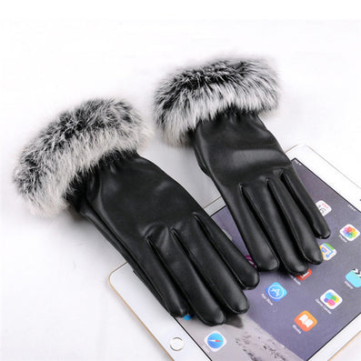 2016 New Fashion Women's Black Autumn Winter Warm Rabbit Fur Mittens Hottest Casual Glove Leather Gloves For Women Drive #68703 - Dollar Bargains - 3
