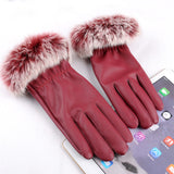 2016 New Fashion Women's Black Autumn Winter Warm Rabbit Fur Mittens Hottest Casual Glove Leather Gloves For Women Drive #68703 - Dollar Bargains - 5