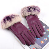 2016 New Fashion Women's Black Autumn Winter Warm Rabbit Fur Mittens Hottest Casual Glove Leather Gloves For Women Drive #68703 - Dollar Bargains - 4