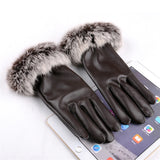 2016 New Fashion Women's Black Autumn Winter Warm Rabbit Fur Mittens Hottest Casual Glove Leather Gloves For Women Drive #68703 - Dollar Bargains - 2