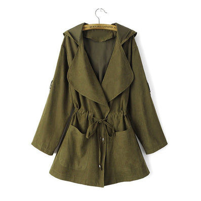 Women hooded long trench casual loose long sleeve solid coats casaco feminine Adjustable Waist street wear tops CT1083-Dollar Bargains Online Shopping Australia