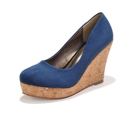 High quality Classics Brand Genuine Leather Suede Wedges High Heels Platform Round Toe Pumps Women's Shoes Zapatos Mujer-Dollar Bargains Online Shopping Australia