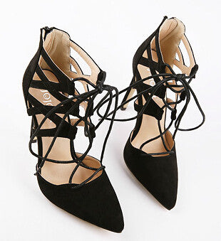 Black / 5Women Pumps Sexy Pointed Toe High Heels Lace up Heels Pumps Women Shoes Wedding Shoes