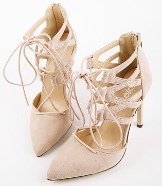 light pink / 9Women Pumps Sexy Pointed Toe High Heels Lace up Heels Pumps Women Shoes Wedding Shoes