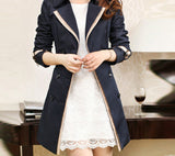 Trench Coat For Women Fashion Turn-down Collar Double Breasted Contrast Color Long Coats Plus Size Casaco Feminino-Dollar Bargains Online Shopping Australia
