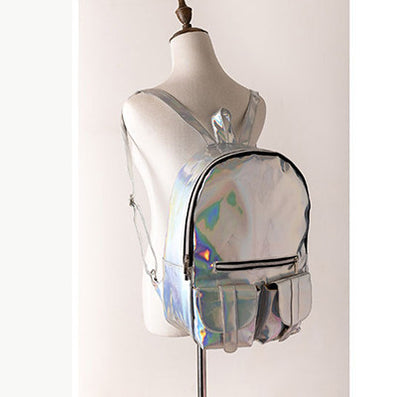 backpack Women Silver Hologram Laser Backpack men's Bag leather Holographic Backpack Multicolor-Dollar Bargains Online Shopping Australia