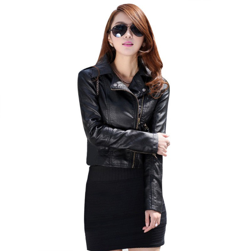 BLACK / LWomen Leather Motorcycle Zipper collar Punk Coat Biker Jacket Outwear Fashion Newest ZT1