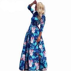 Women Summer Dress Print Long Maxi Dresses Beach Dress Long Sleeve Bohemian Dress-Dollar Bargains Online Shopping Australia