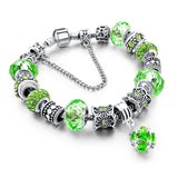 925 Silver Crystal Charm Bracelets for Women With Purple Murano Glass Beads bracelets & bangles Love DIY Jewelry Bracelet Femme-Dollar Bargains Online Shopping Australia