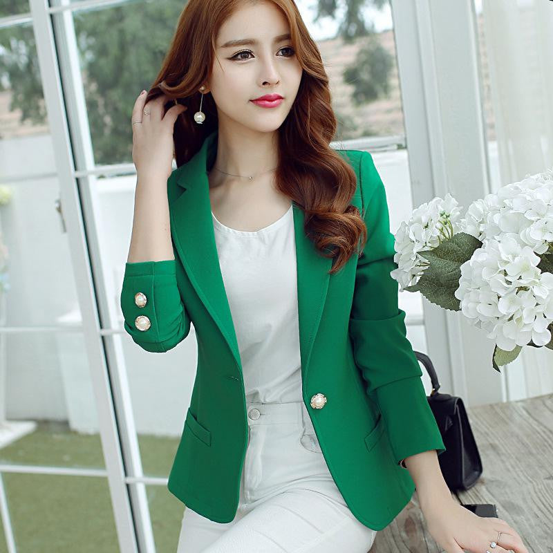 New Long-Sleeved Slim Women Blazers And Jackets Small Women Suit Korean Version Slim (Green Yellow Black)  Ladies Blazer Femme - Dollar Bargains - 2