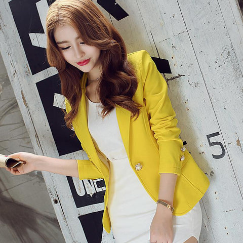 New Long-Sleeved Slim Women Blazers And Jackets Small Women Suit Korean Version Slim (Green Yellow Black)  Ladies Blazer Femme - Dollar Bargains - 3