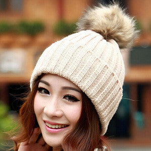 Brand 2016 Women Spring Winter Hats Beanies Knitted Cap Crochet Hat Rabbit Fur Pompons Ear Protect Casual Cap Chapeu Feminino - Dollar Bargains - 6