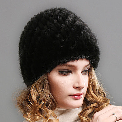 Black / Russian FederationFURTALK Women Real mink fur hat winter fur hat Russian Women Winter Hat Beanie