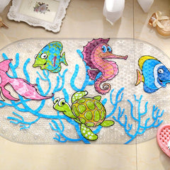Cartoon Anti-Slip PVC Bath Mat With Suction Cups Seaworld Turtle Fish Carpet Used For Bathroom-Dollar Bargains Online Shopping Australia