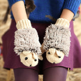 Hedgehog Gloves Women Winter Warmer Knitted Crochet Wrist Cartoon Fleece Heated Mittens Erinaceus Outdoor Gifts S1559-Dollar Bargains Online Shopping Australia