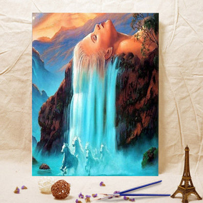 Frameless Wall art home decor Pictures Painting On Canvas White hair waterfall DIY Digital Oil painting by numbers-Dollar Bargains Online Shopping Australia