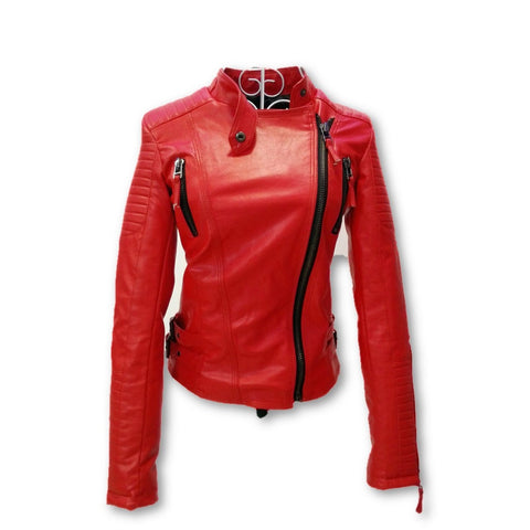 2016 New Fashion Autumn Winter Women Brand Faux Soft Leather Jackets Pu Black Red Yellow Zippers Long Sleeve Motorcycle Coat - Dollar Bargains - 2