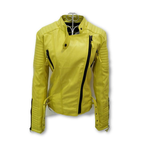 2016 New Fashion Autumn Winter Women Brand Faux Soft Leather Jackets Pu Black Red Yellow Zippers Long Sleeve Motorcycle Coat - Dollar Bargains - 4
