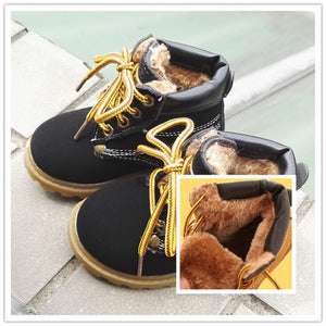 Comfy kids winter Fashion Child Leather Snow Boots For Girls Boys Warm Martin Boots Shoes Casual Plush Child  Baby Toddler Shoe - Dollar Bargains - 2
