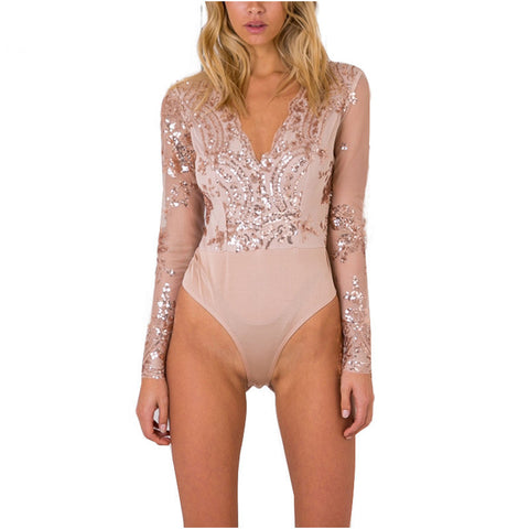 Apparel Golden Sequin Mesh Bodysuit Women Transparent Sleeve Leotard Bodysuit Top V Neck Elegant Jumpsuit Romper-Dollar Bargains Online Shopping Australia
