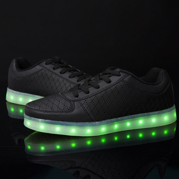 Usb Charge Led Shoes Couple Casual Shoes With Led Luminous Men Shoes Light Up Male Shoes Zapatos Mujer Fashion Lace Up Loafers Attractive Appearance Shoes