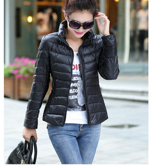 2016 Women Ultra Light Down Jacket Winter Duck Down Jackets Women Slim Thin Long Sleeve Parka Zipper Coats Pockets Solid - Dollar Bargains - 3