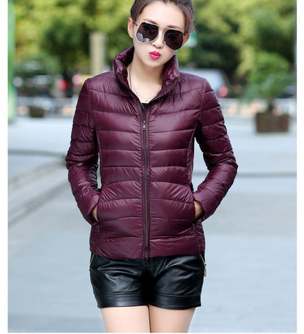 2016 Women Ultra Light Down Jacket Winter Duck Down Jackets Women Slim Thin Long Sleeve Parka Zipper Coats Pockets Solid - Dollar Bargains - 6