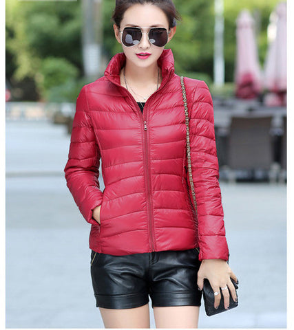 2016 Women Ultra Light Down Jacket Winter Duck Down Jackets Women Slim Thin Long Sleeve Parka Zipper Coats Pockets Solid - Dollar Bargains - 2