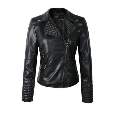 New Women Leather Jackets Fashion Female Rivet Winter Motorcycle Brand Coat Outwear-Dollar Bargains Online Shopping Australia