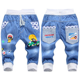 New Kids Jeans Elastic Waist Straight Bear Pattern Denim Seventh Pants Retail Boy Jeans For 2-5 Years WB142-Dollar Bargains Online Shopping Australia