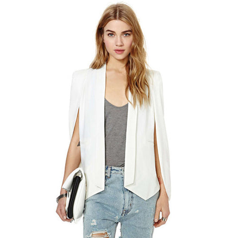 XS-XXL 6 Size Fashion Cloak Cape Blazer Women Coat White Black Lapel Split Long Sleeve Pockets Solid Casual Suit Jacket Workwear - Dollar Bargains - 3